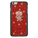 Personalized name cow red snowflakes carved® maple iPhone 6 plus slim case