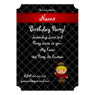 Personalized name cowboy black grid pattern invitations