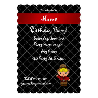 Personalized name cowboy black grid pattern personalized invitation