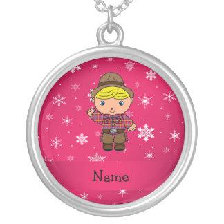 Personalized name cowboy pink snowflakes pendants