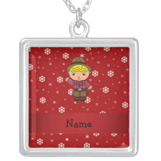 Personalized name cowboy red snowflakes custom jewelry