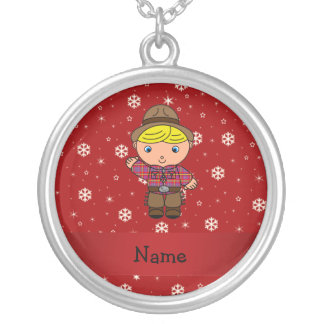 Personalized name cowboy red snowflakes necklaces