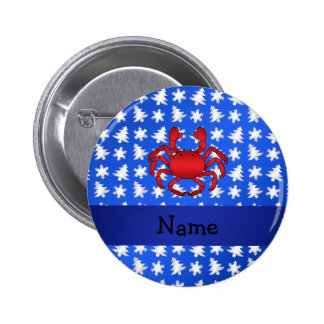 Personalized name crab blue snowflakes trees pinback buttons