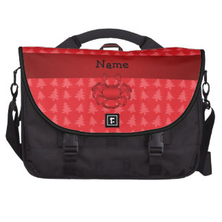 Personalized name crab red christmas trees computer bag