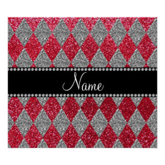 Personalized name crimson red glitter argyle poster