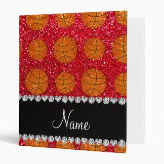 Personalized name crimson red glitter basketballs binder