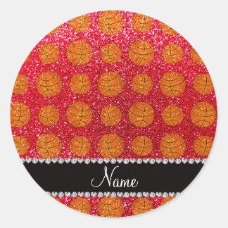 Personalized name crimson red glitter basketballs round sticker