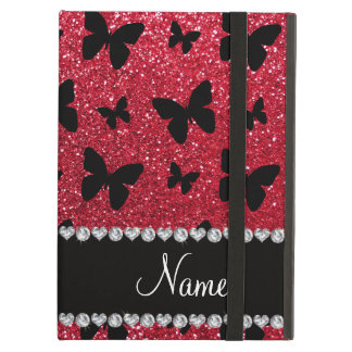 Personalized name crimson red glitter butterflies iPad air cases