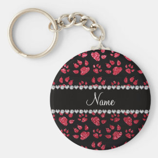Personalized name crimson red glitter cat paws basic round button keychain