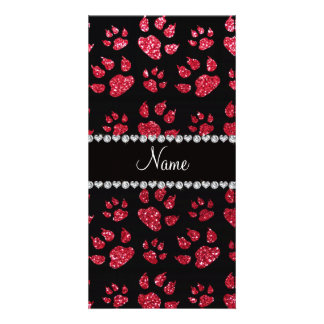 Personalized name crimson red glitter cat paws photo card