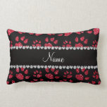 Personalized name crimson red glitter cat paws pillows