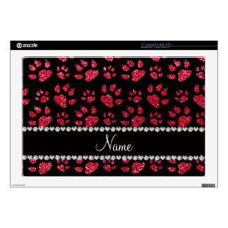 """Personalized name crimson red glitter cat paws 17"""" laptop decal"""