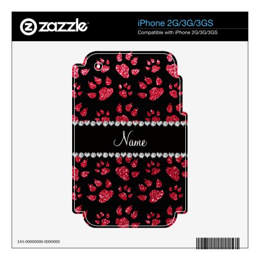 Personalized name crimson red glitter cat paws skin for iPhone 2G