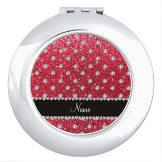 Personalized name crimson red glitter diamonds mirror for makeup