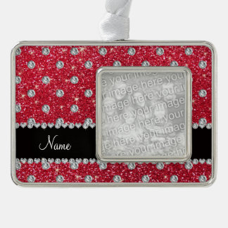 Personalized name crimson red glitter diamonds silver plated framed ornament