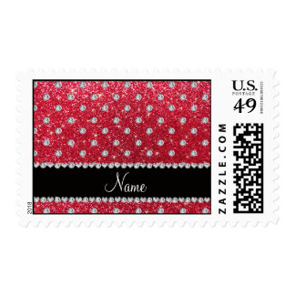 Personalized name crimson red glitter diamonds postage stamps