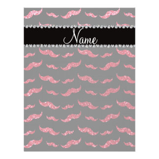 "Personalized name crimson red glitter mustaches 8.5"" x 11"" flyer"