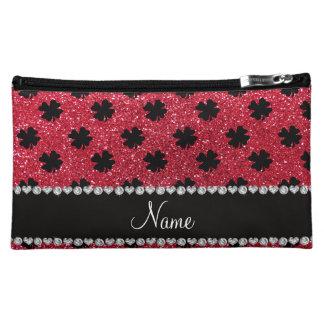 Personalized name crimson red glitter shamrocks cosmetic bag