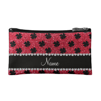 Personalized name crimson red glitter shamrocks makeup bag