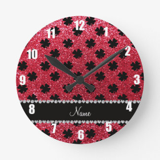 Personalized name crimson red glitter shamrocks round clock