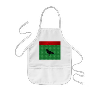 Personalized name crow green christmas trees aprons