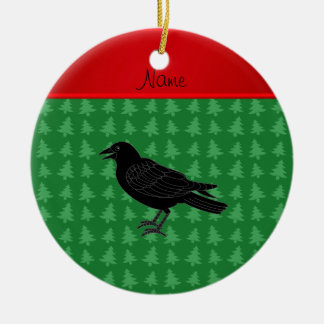Personalized name crow green christmas trees ceramic ornament