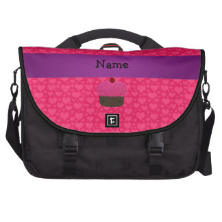 Personalized name cupcake pink hearts laptop commuter bag