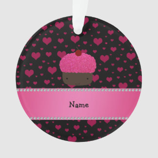 Personalized name cupcake pink hearts on black