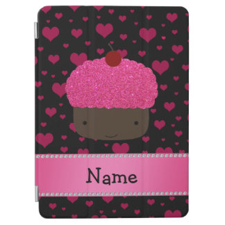 Personalized name cupcake pink hearts on black iPad air cover