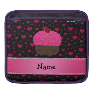 Personalized name cupcake pink hearts on black sleeve for iPads