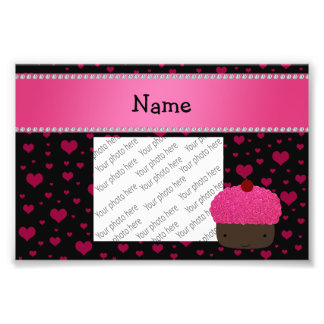 Personalized name cupcake pink hearts on black art photo