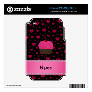 Personalized name cupcake pink hearts on black decal for iPhone 3GS