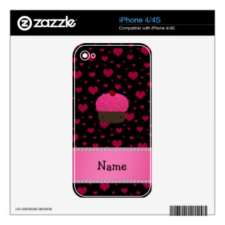 Personalized name cupcake pink hearts on black iPhone 4 decals