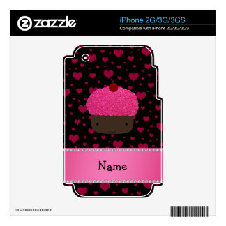 Personalized name cupcake pink hearts on black decal for iPhone 2G