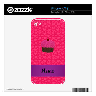 Personalized name cupcake pink hearts skins for the iPhone 4S