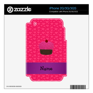 Personalized name cupcake pink hearts iPhone 3G skin