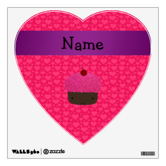 Personalized name cupcake pink hearts room graphics