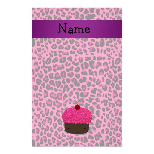 Personalized name cupcake pink leopard print customized stationery