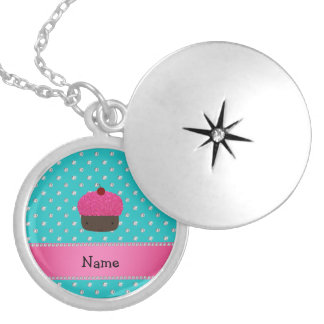 Personalized name cupcake turquoise diamonds locket necklace