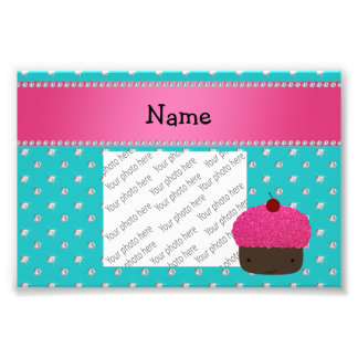 Personalized name cupcake turquoise diamonds photo