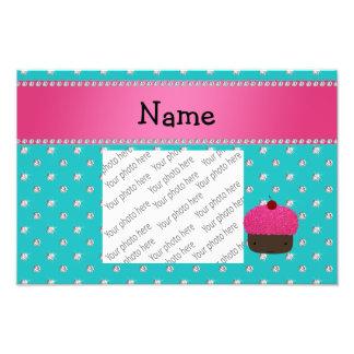 Personalized name cupcake turquoise diamonds photographic print