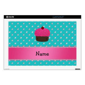 "Personalized name cupcake turquoise diamonds 17"" laptop skins"