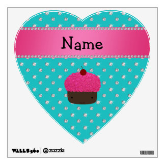 Personalized name cupcake turquoise diamonds wall stickers