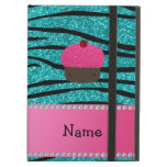 Personalized name cupcake turquoise glitter zebra iPad air cases
