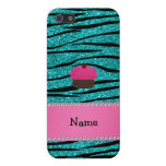 Personalized name cupcake turquoise glitter zebra iPhone 5 case