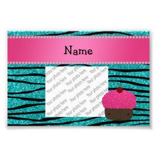 Personalized name cupcake turquoise glitter zebra photo art