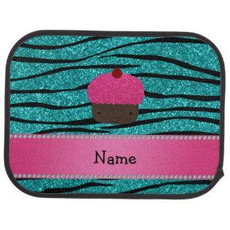 Personalized name cupcake turquoise glitter zebra car mat