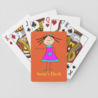 Personalized Name Custom Text Cute Prize Fun Girl Playing Cards