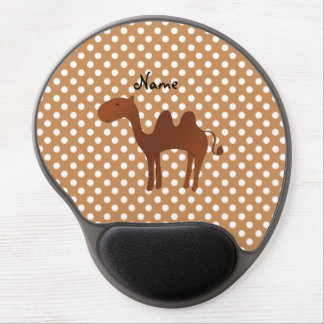 Personalized name cute camel brown polka dots gel mouse pad