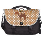 Personalized name cute camel brown polka dots laptop bags